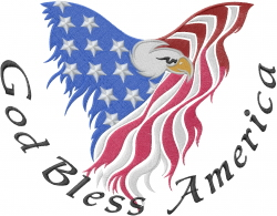 God Bless America embroidery design