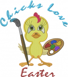 Chicks Love Easter embroidery design