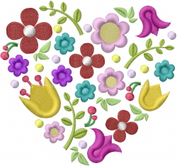 Flower Heart Spring embroidery design