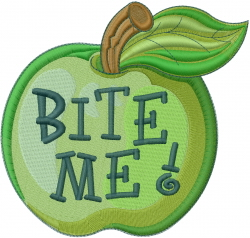 Green Apple Bite Me embroidery design