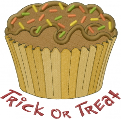 Trick Or Treat Cupcake embroidery design