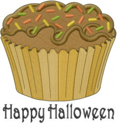 Happy Halloween Cupcake embroidery design