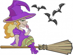 Halloween Witch On Broom embroidery design