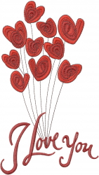 I Love You Valentine embroidery design
