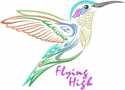 Fly High Hummingbird embroidery design
