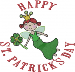 Irish St Patrick Fairy embroidery design