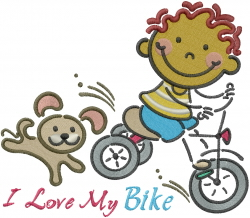 I Love My Bike embroidery design