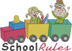 School Rules Toy Train embroidery design