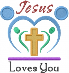 Jesus Loves Yes embroidery design