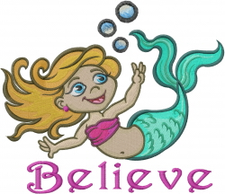 Believe In Mermaids embroidery design