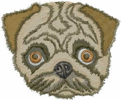 Pug Dog Head embroidery design