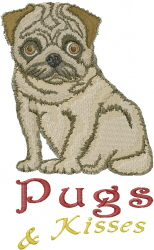 Pugs & Kisses embroidery design