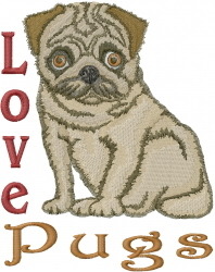 I Love Pugs embroidery design
