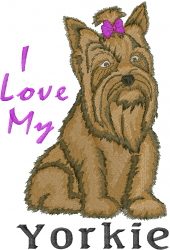 Love My Yorkie embroidery design