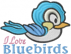 I Love Bluebirds embroidery design