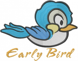 Early Bird Catches Worm embroidery design