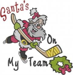 Santas On My Team embroidery design