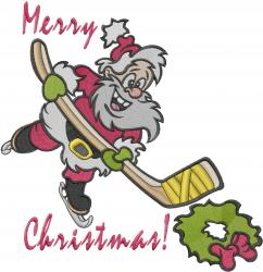 XMas Hockey Santa embroidery design