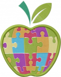 Apple Puzzle embroidery design