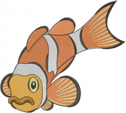Aquarium clown fish_ embroidery design
