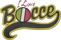 I Love Bocce embroidery design