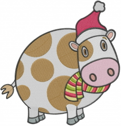 Christmas Cow embroidery design