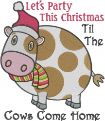 Party Christmas Cow embroidery design