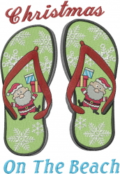 Christmas Beach Flip Flop embroidery design
