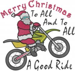 Good Ride Santa embroidery design