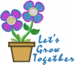 Lets Grow Together embroidery design