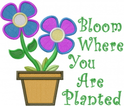 Bloom Where Planted embroidery design