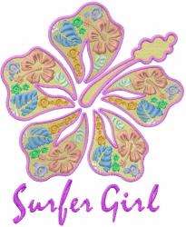 Surfer Girl Flower embroidery design