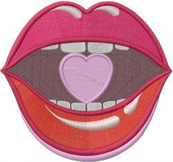Love You Lips embroidery design