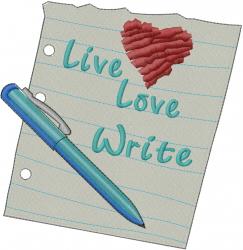 Live Love Write embroidery design