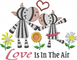 Zebras Love In The Air embroidery design