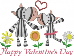 Valentines Day Zebras embroidery design