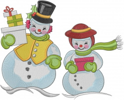 Snowman Couple Holiday embroidery design
