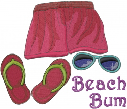 Beach Bum embroidery design