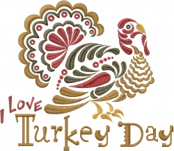 Love Turkey Day embroidery design