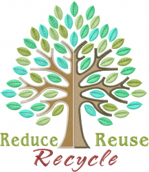 Reduce Reuse Recycle embroidery design