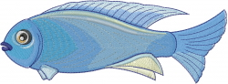 Blue Reef Chromis embroidery design