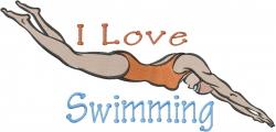I Love Swimming embroidery design