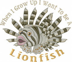 A Lion Fish embroidery design