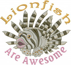 Awesome Lion Fish embroidery design