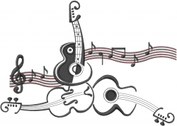 Guitar Music embroidery design