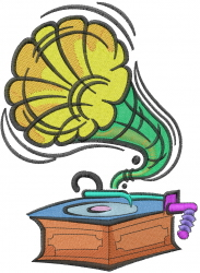 Antique Phonograph embroidery design