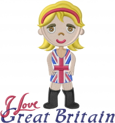 British Girl I Love embroidery design