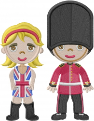British Guard Couple embroidery design