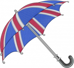 British Umbrella embroidery design
