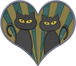 Cat Love Heart embroidery design